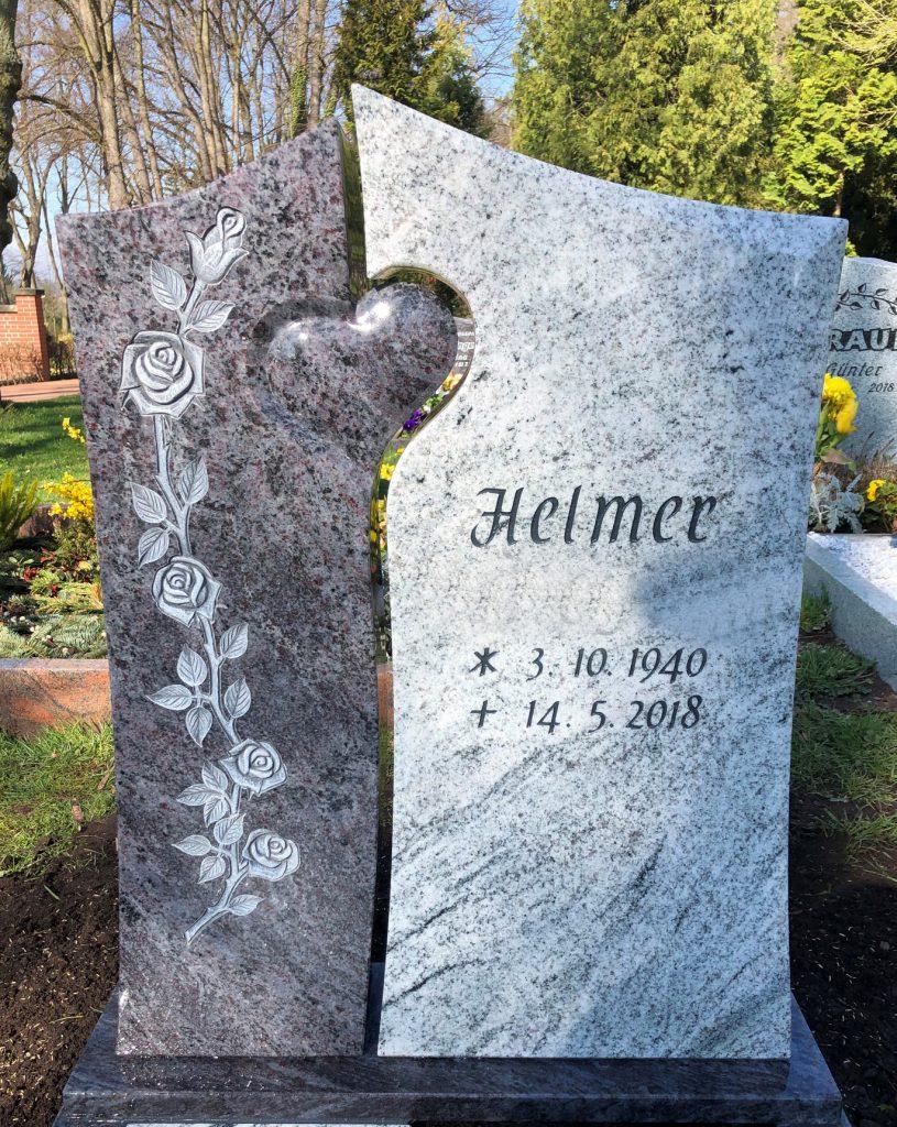 Einzelgrabstein verbunden mit Herz
