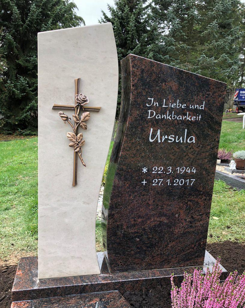 Einzelgrabstein Hell/Dunkel mit Kreuz